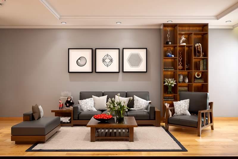 Thiết kế phòng khách chung cư với bộ bàn trà kiểu Nhật đẹp
