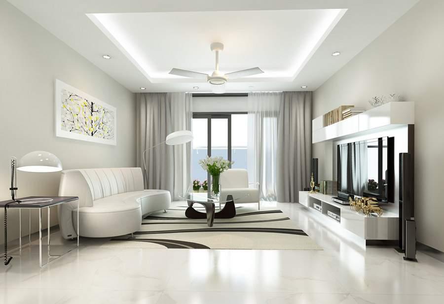 thiết kế phòng khách đẹp màu trắng
