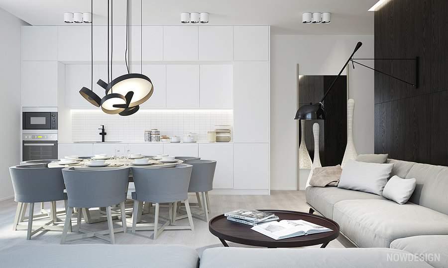 thiết kế phòng khách đơn giản màu trắng