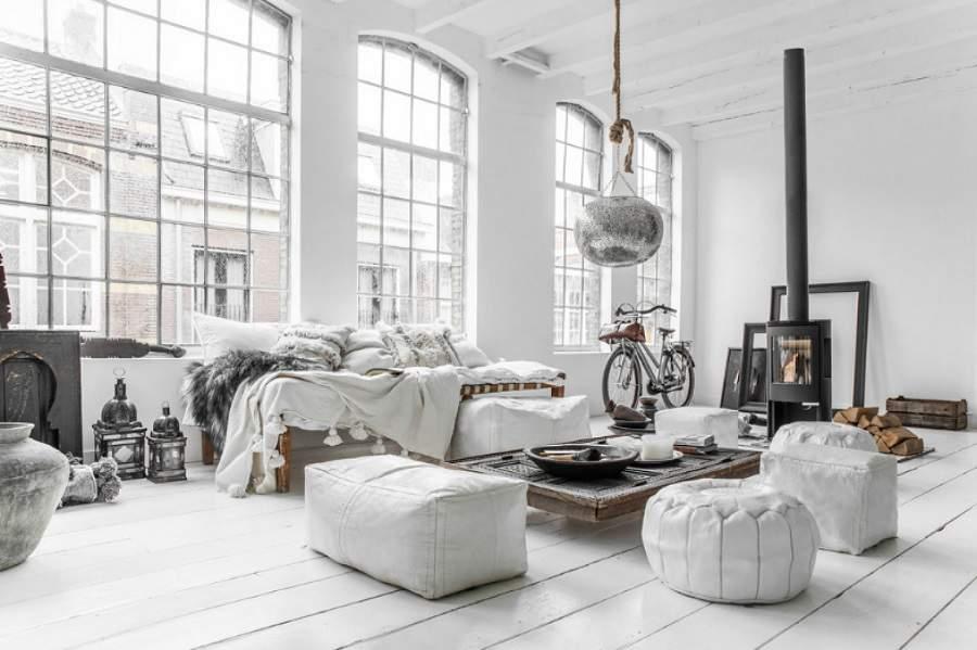 thiết kế nội thất màu trắng cho phòng khách