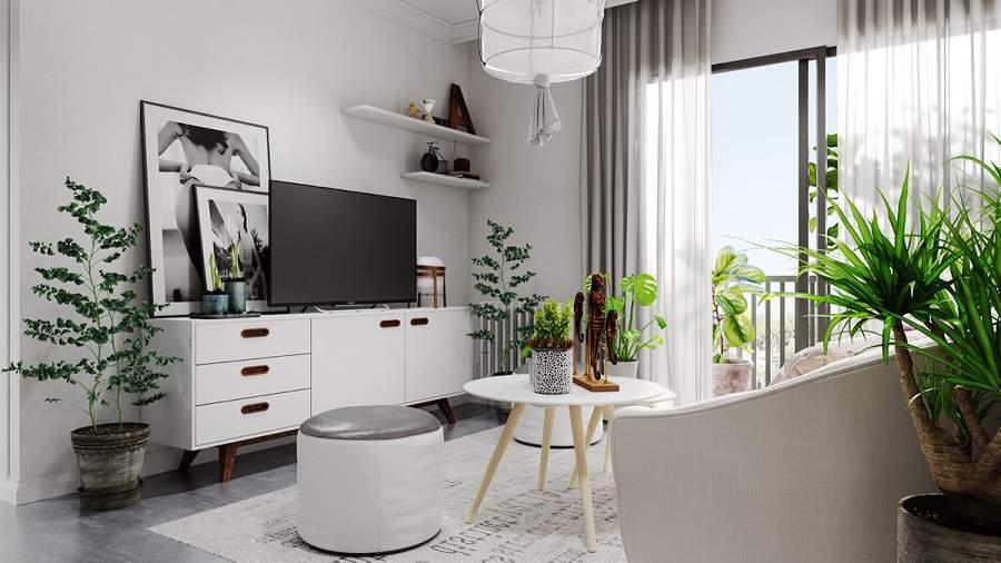 Thiết kế phòng khách gam màu trắng