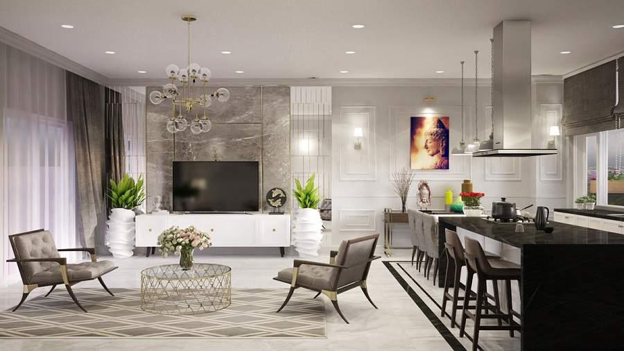 Trang trí phòng khách có cây xanh đẹp và tràn đầy sức sống