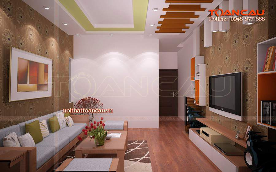 Thiết kế phòng khách nhà ống đẹp bằng gỗ sồi đẹp tiện lợi