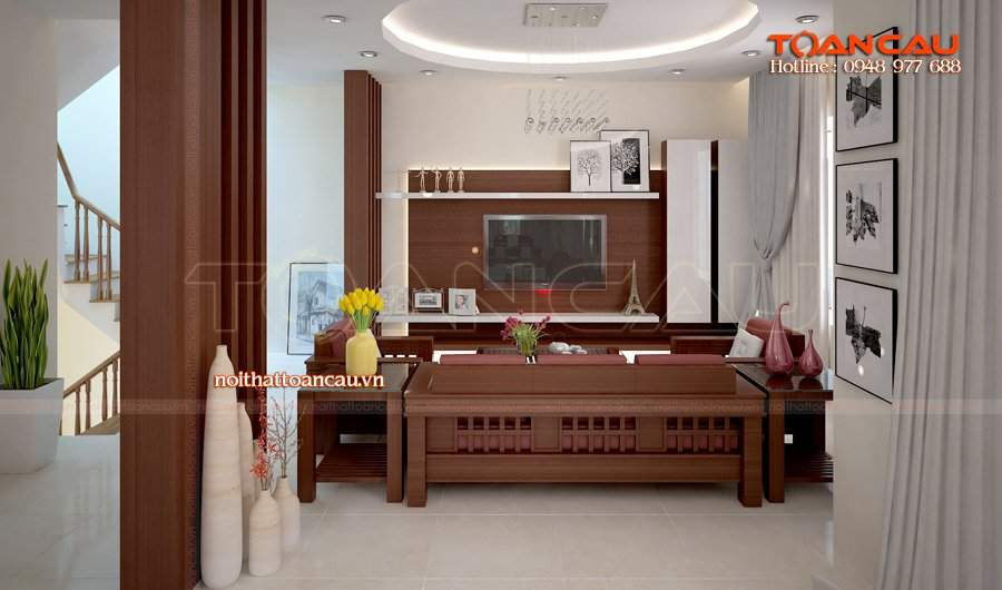 Thiết kế phòng khách nhà ống đẹp bằng gỗ sồi cho phong cách hiện đại