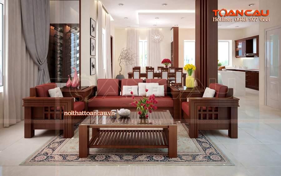Thiết kế phòng khách nhà ống đẹp bằng gỗ sồi rất ưng ý với gia chủ