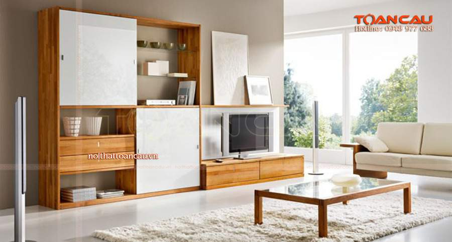 Gỗ sồi kêt hợp với gỗ công nghiệp cho căn phòng tiện ích nhất