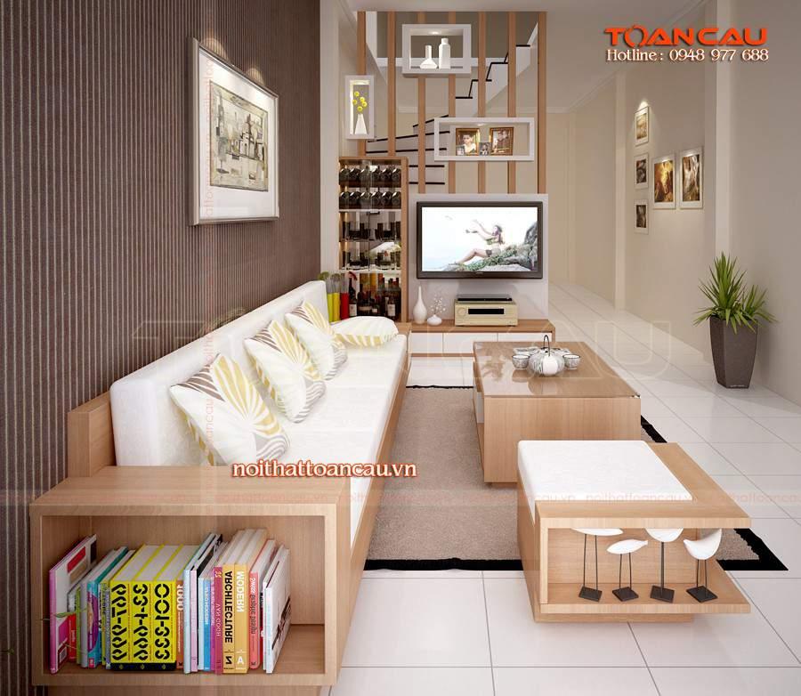 Thiết kế phòng khách nhà ống đẹp bằng gỗ sồi cho nhà sang