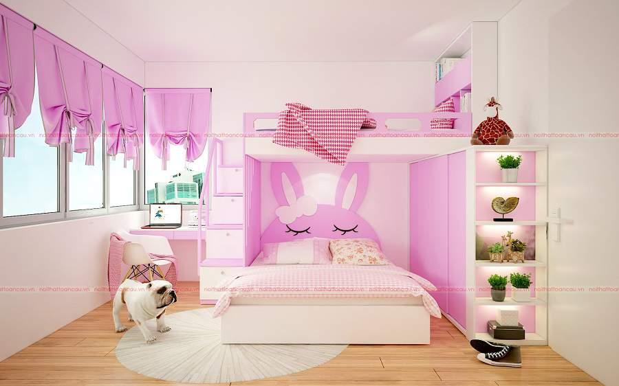 Mẫu thiết kế phòng ngủ bé gái màu hồng đẹp và nữ tính