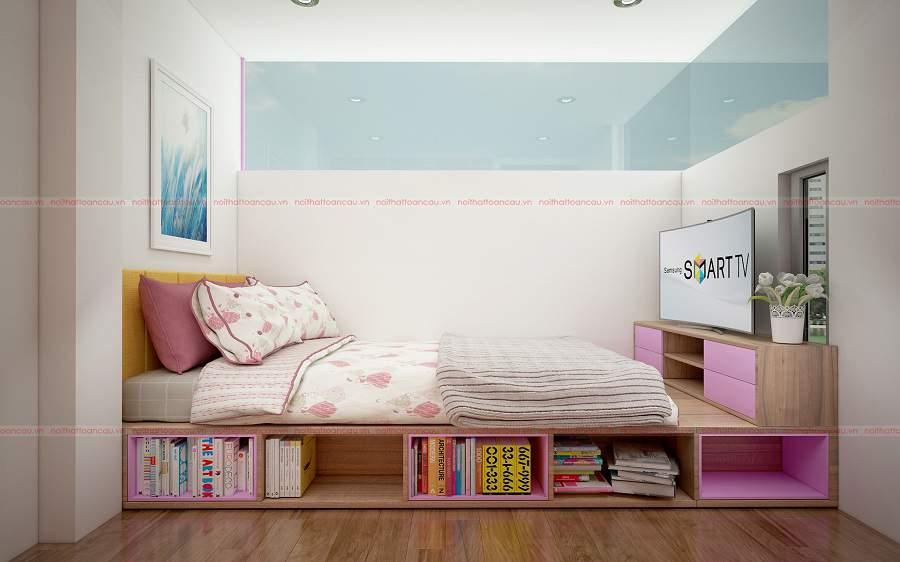 Mẫu thiết kế phòng ngủ bé gái màu hồng đẹp tại Nội thất Toàn Cầu