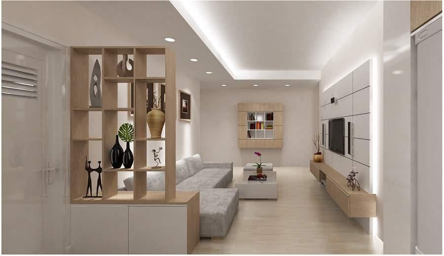 Thiết kế vách ngăn phòng khách và bếp phù hợp nhà chật chội