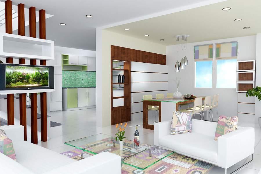 Thiết kế vách ngăn phòng khách và bếp đẹp
