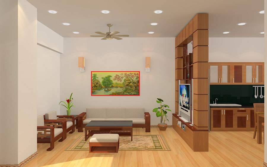 Thiết kế phòng khách và bếp liền nhau bằng kính