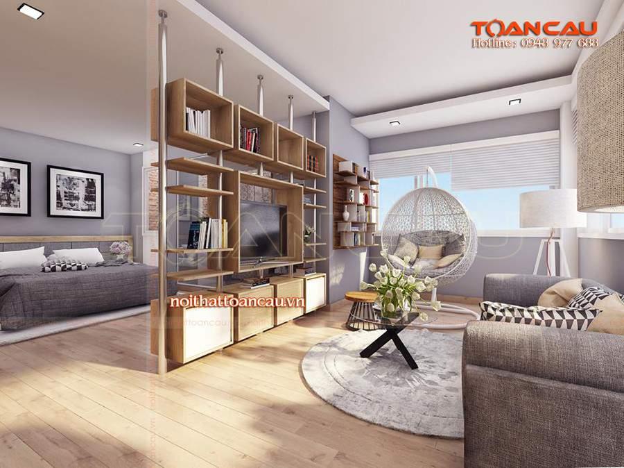 Thiết kế vách ngăn phòng khách và bếp hiện đại