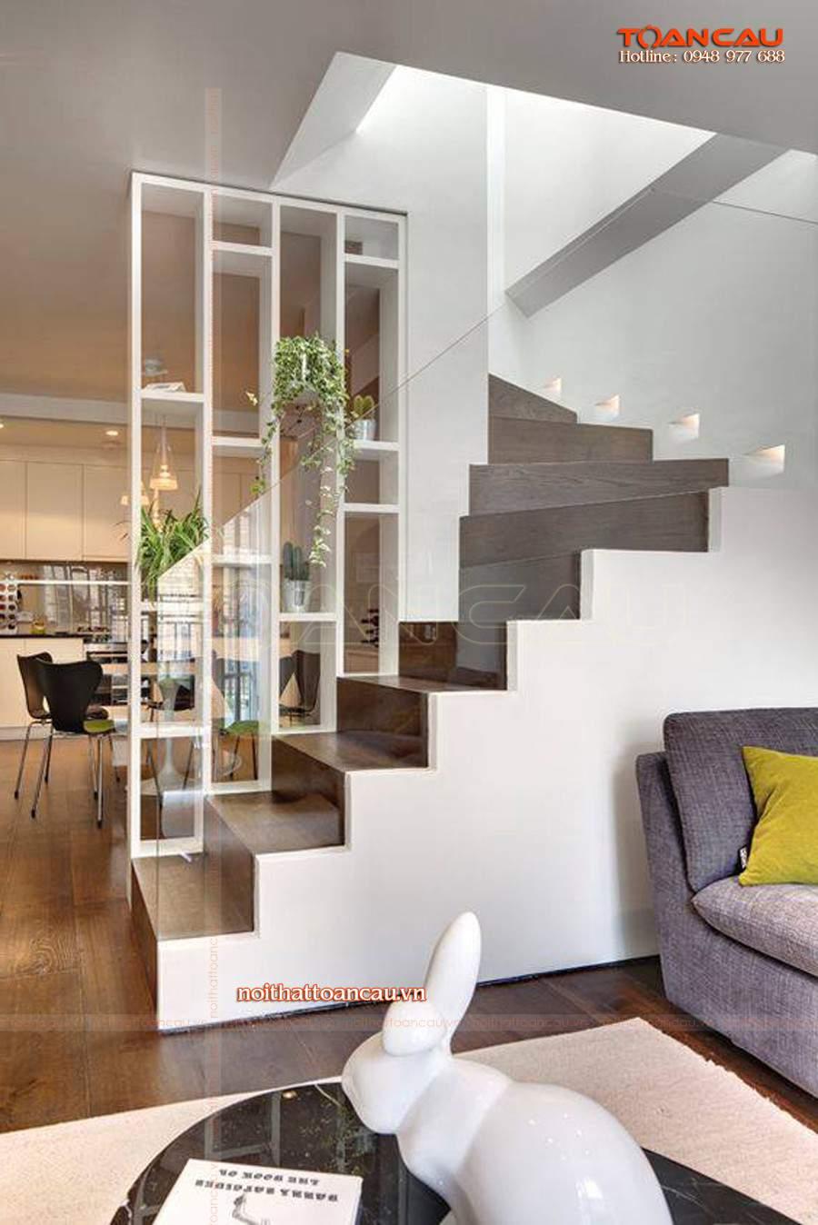 Thiết kế vách ngăn phòng khách và bếp bằng gỗ công nghệp