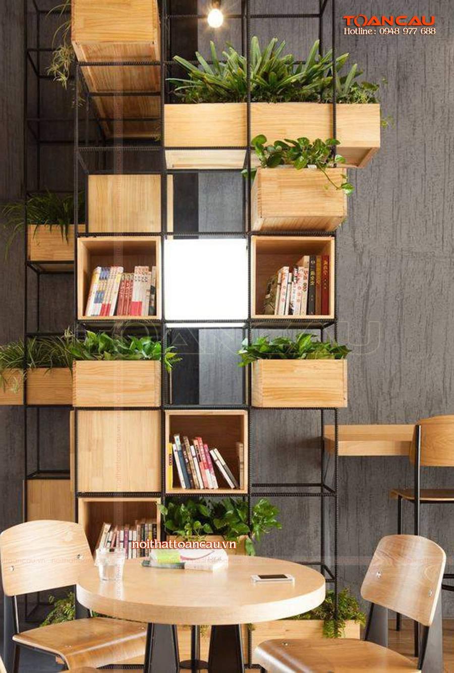 Thiết kế vách ngăn phòng khách và bếp tiện ích trang trí