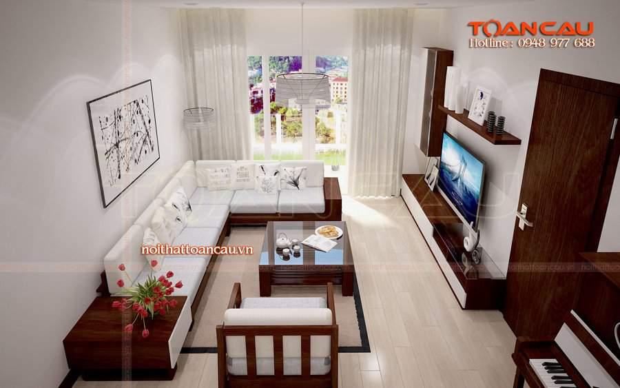 Những bộ bàn ghế gỗ đẹp phòng khách - kệ tivi sang trọng