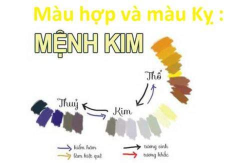 Bảng màu tương sinh và tương hợp với gia chủ mệnh Kim