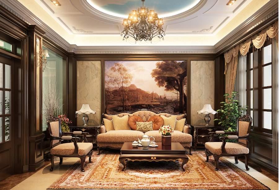 Trang trí phòng khách bằng đồ gỗ giả cổ