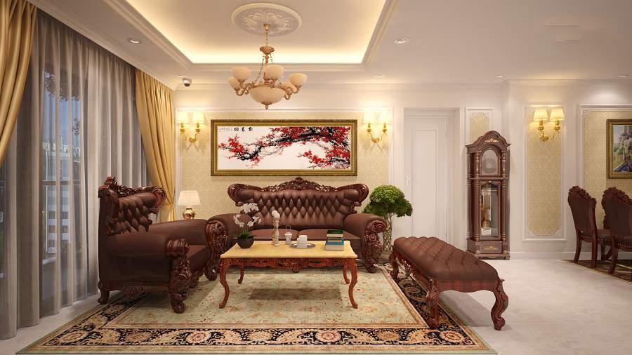 nội thất phòng khách với đồ gỗ