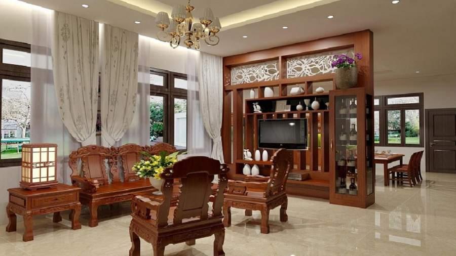 trang trí phòng khách bằng gỗ tự nhiên