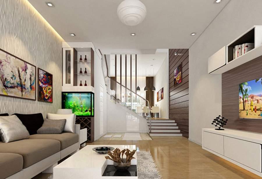 phòng khách nhà ống có cầu thang đẹp hiện đại và ưng ý