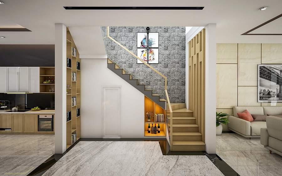 bố trí phòng khách có cầu thang đẹp tận dụng