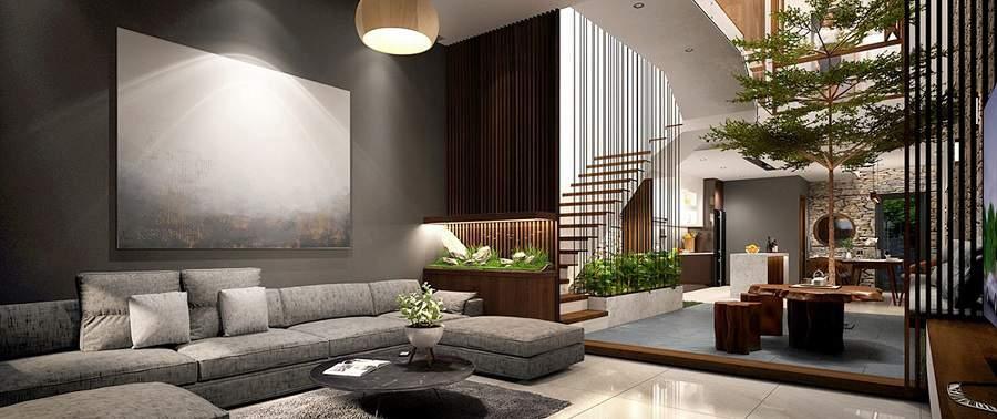 trang trí cầu thang phòng khách đẹp hiện đại