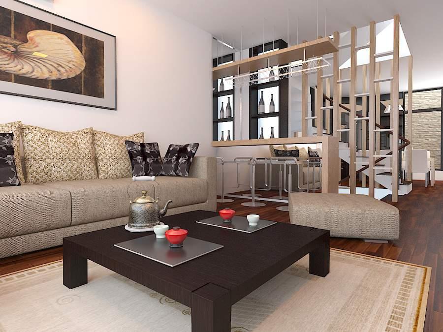 vách ngăn gỗ phòng khách và bếp