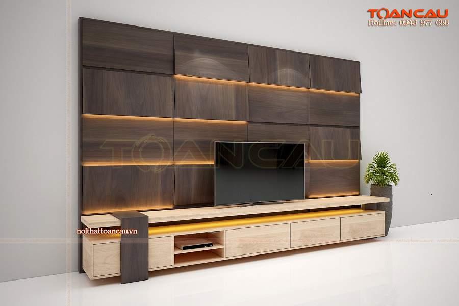Những cách trang trí tường phòng khách bằng gỗ xinh