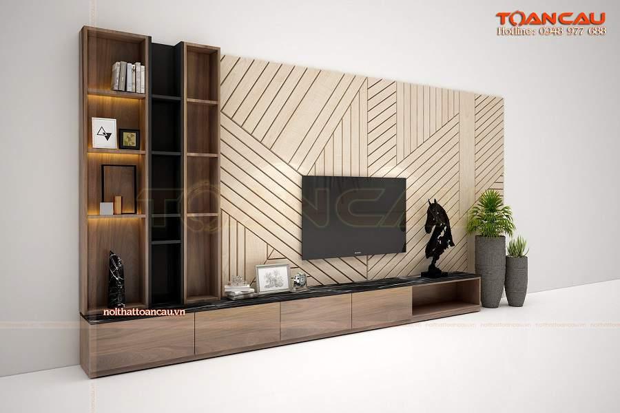 Trang trí tường phòng khách bằng gỗ đẹp nhất