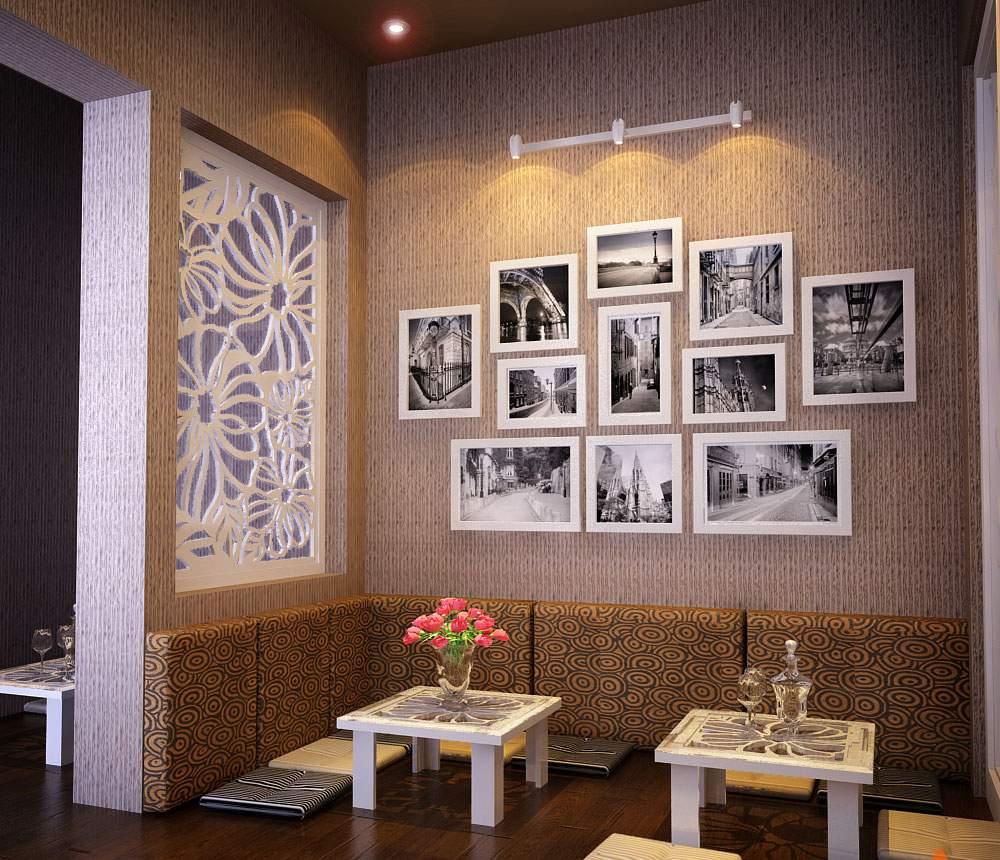 Trang trí tường phòng khách bằng gỗ cho nhà xinh