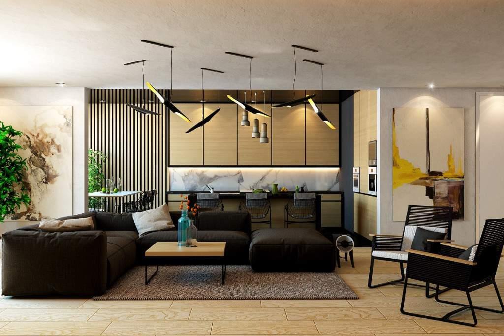 Trang trí tường phòng khách bằng gỗ hiện đại