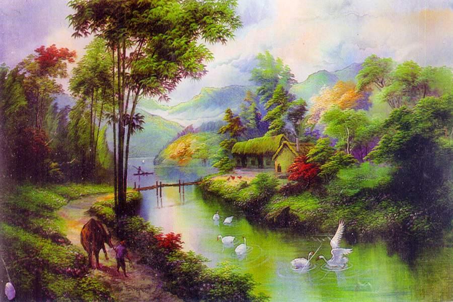 Tranh màu nước phong cảnh đơn giản đẹp hiền hòa