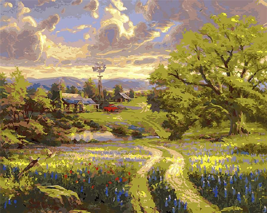 Tranh màu nước phong cảnh làng quê