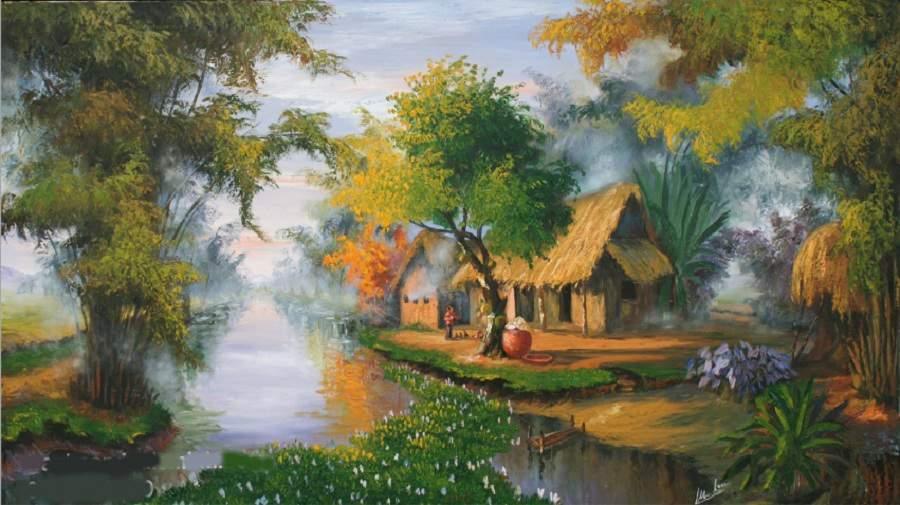 Tranh màu nước phong cảnh đơn giản