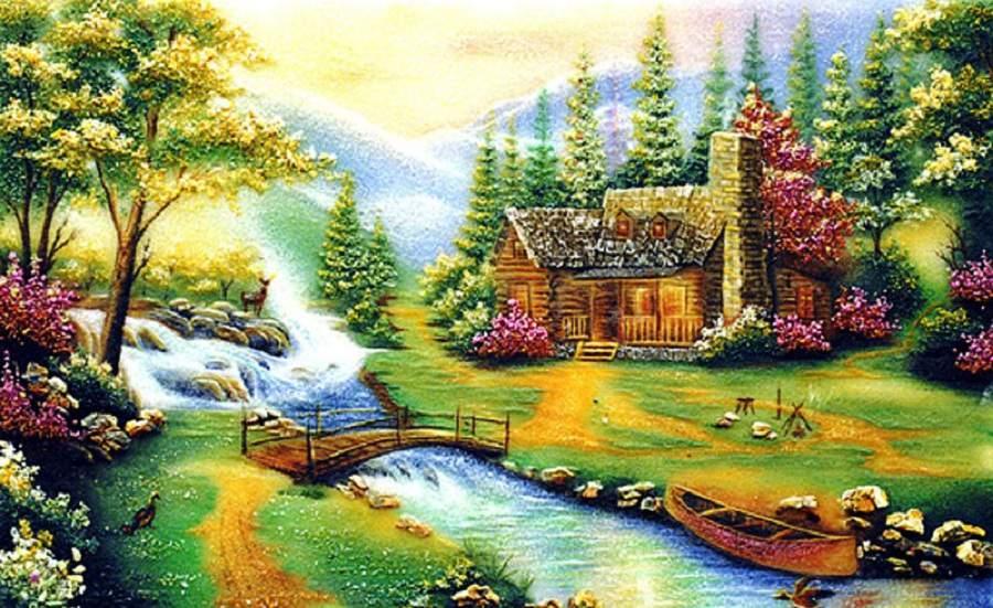 Những mẫu tranh màu nước làng quê thanh bình