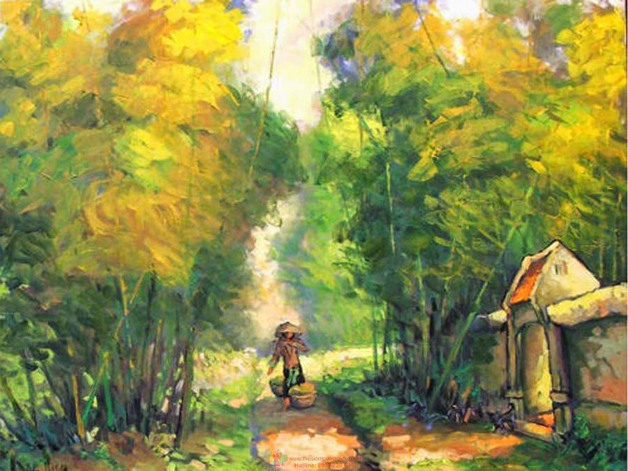 Mẫu tranh đẹp về làng quê