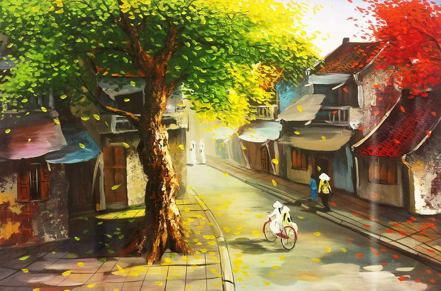 Tranh màu nước phong cảnh làng quê đẹp nhất