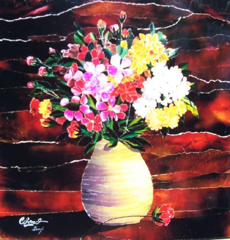 Tranh tĩnh vật lọ hoa và quả đơn giản đẹp tinh tế