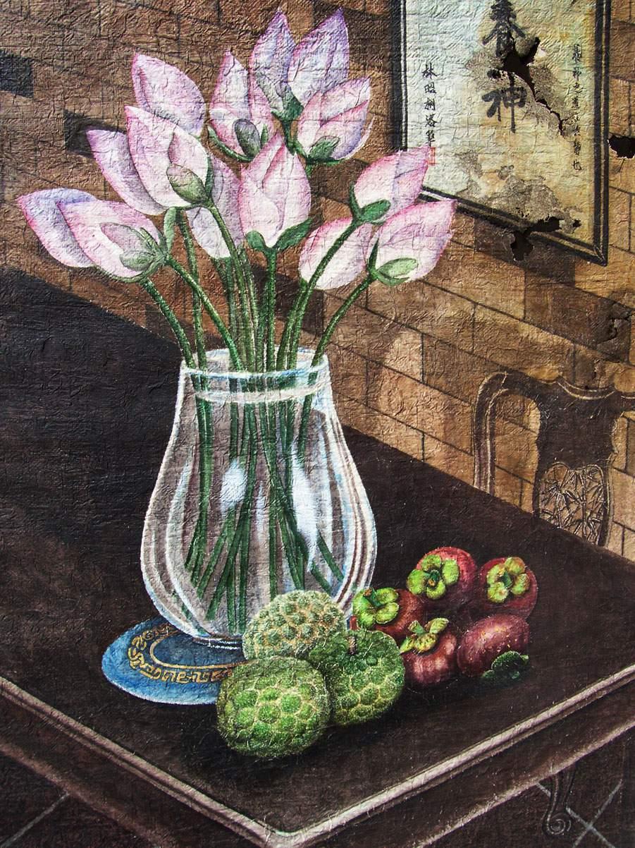 tranh vẽ lọ hoa và quả đẹp hiện đại
