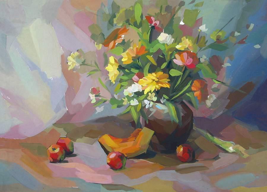 Treo tranh tĩnh vật lọ hoa và quả đơn giản trong nhà