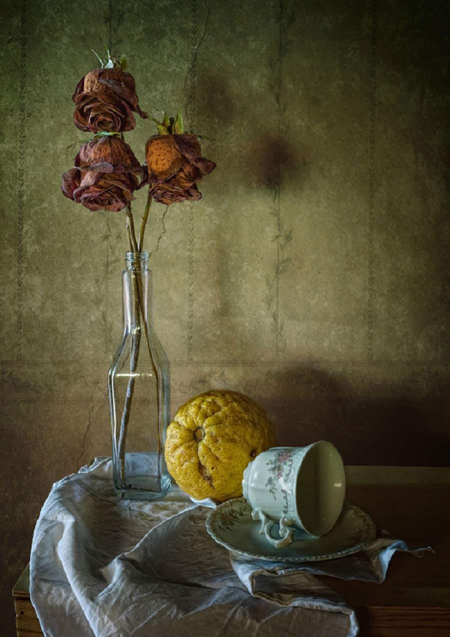 tranh tĩnh vật lọ hoa và quả đơn giản