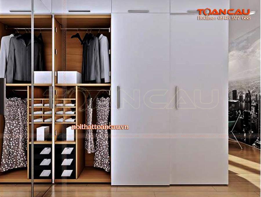 Mẫu tủ đựng quần áo - tủ áo ưa chuộng nhất hiện nay, làm bằng gỗ công nghiệp, bền khi sử dụng.