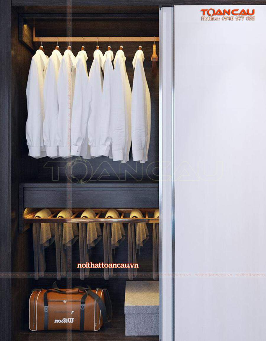 Mẫu tủ treo quần áo trong phòng ngủ rất tiện lợi khi sử dụng