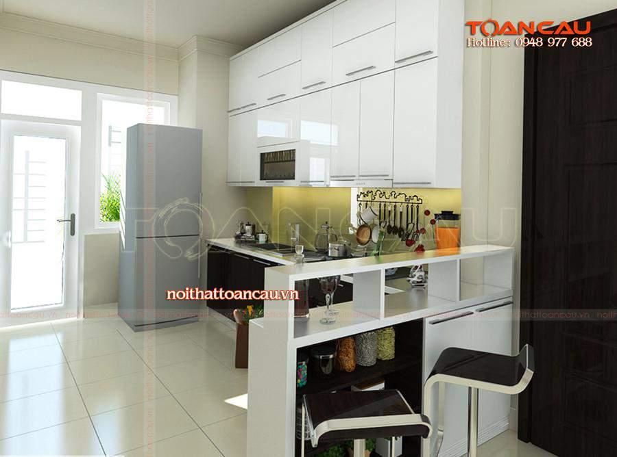Tủ bếp chữ L kết hợp bàn đảo hiện đại, tạo nên một không gia bếp sang trọng hơn, tủ bếp rất tiện dụng cho mọi gia đình.