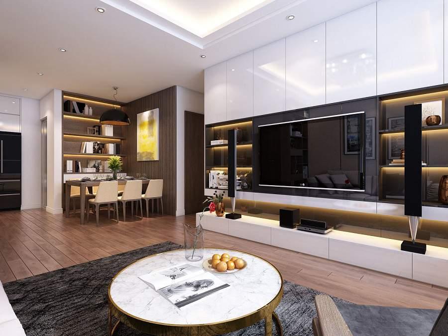 Mẫu thiết kế phòng khách liền phòng bếp tiện nghi