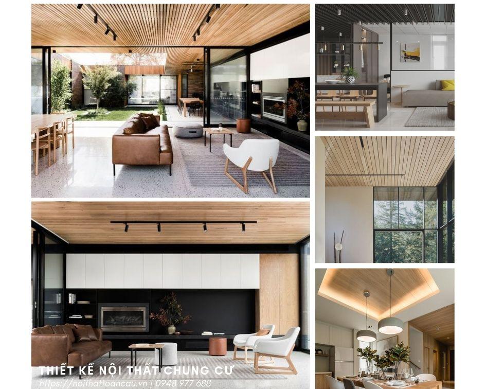 Ốp gỗ lên trần nhà