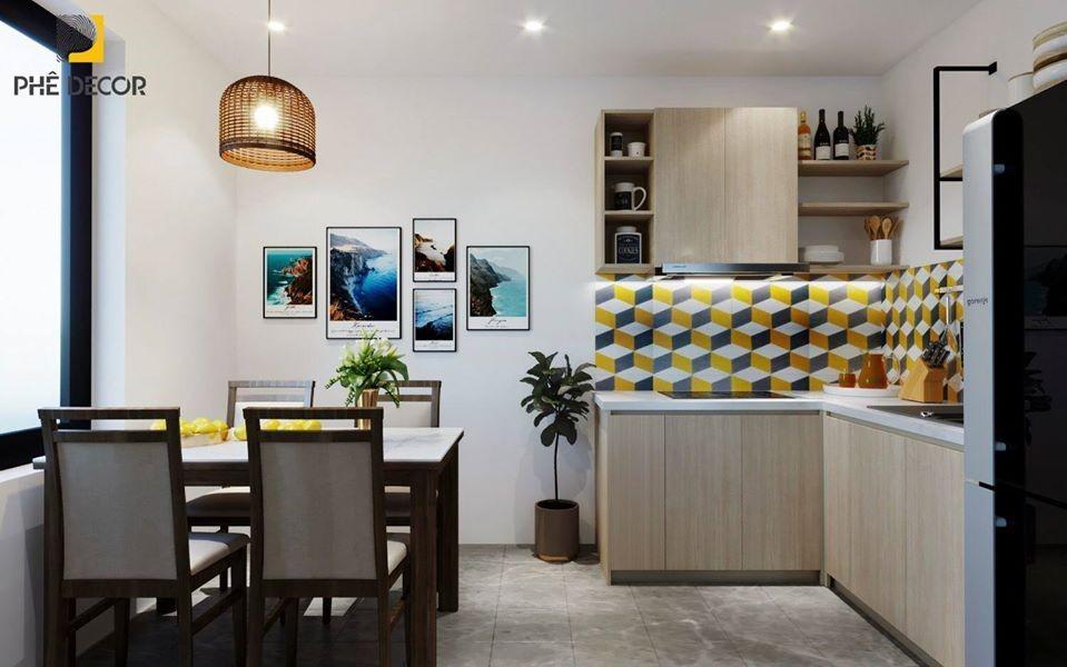 thiết kế tủ bếp màu sắc nổi bật