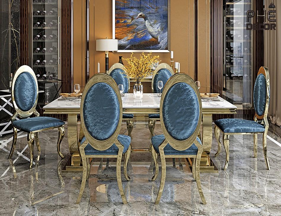 Bộ bàn ăn xanh blue vương giả