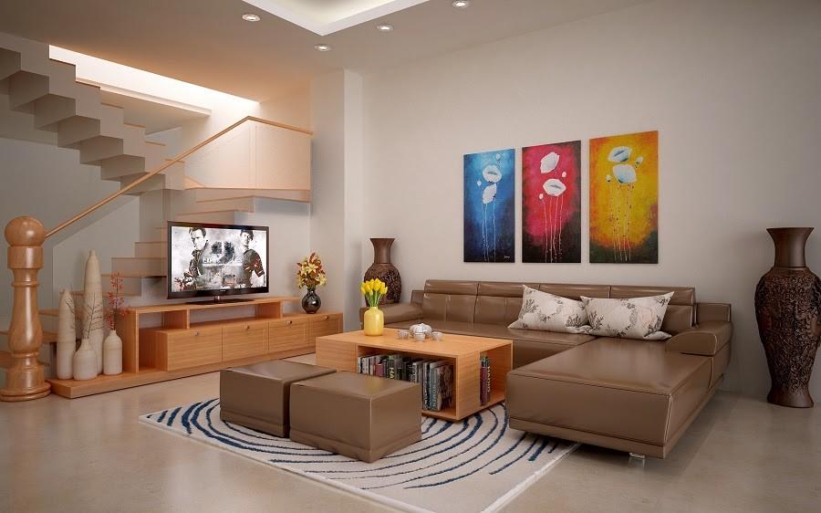 phòng khách không gian vuông